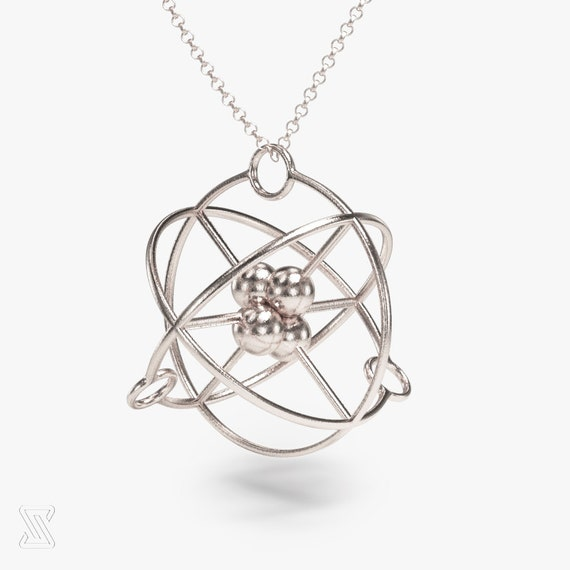 Science Jewelry Silver Atom Necklace Chemistry Gift 3d Etsy