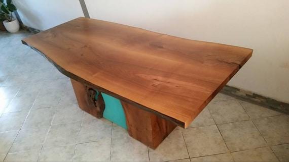 Mesa de cocina rústica muebles borde vivo   Etsy