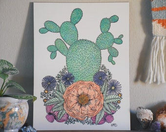 Watercolor Cactus and Flowers