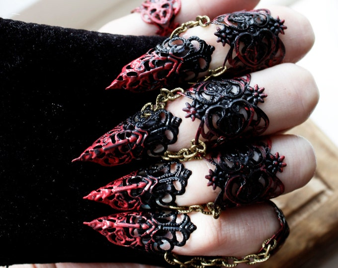 Featured listing image: Ebony Armour - Full hand set Midi Claw Rings Red and Black - Halloween Costume - Nail Rings - Goth Jewellery - Cosplay Armour - BDSM Claws