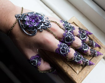 Gothic Claws - Full Hand Piece - Halloween - Black and Purple