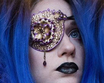Gothic Lolita Eyepatch - Steampunk Mask - Halloween Costume - Masquerade - Cosplay Armour - Metal Eye Wear - Festival Jewellery - Eye Armor