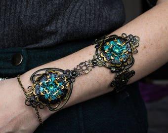 Black Dahlia Bracer - Adjustable Armlet - Gothic Jewellery - Arm Armour - Cosplay Armor - Goth Bracelet - Festival Jewelry - Halloween