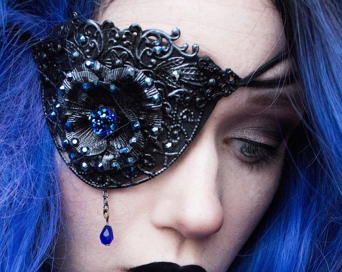 Featured listing image: Gothic Lolita Eyepatch - Steampunk Mask - Halloween Costume - Masquerade - Cosplay Armour - Metal Eye Wear - Festival Jewellery - Eye Armor