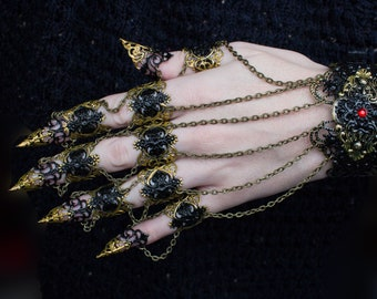 Ebony Armour - Claw Rings - Full hand set - BDSM Claws - Gothic Vampire Jewellery - Nail Ring - Halloween Costume - Festival jewelry