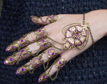 Full Hand Claws - Nail Rings - Steampunk Jewellery - Gothic hand piece - Halloween Costume - Witch Claws - Cosplay Armour - Vampire Armor