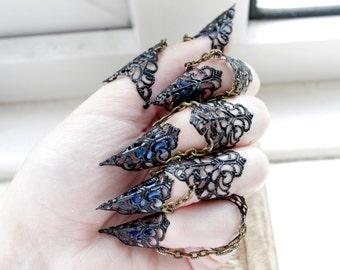 Black Nail Rings - Ebony Armour - Black Adjustable Full Hand x5 - Claw Rings - BDSM Claws - Scratch Play - Halloween Jewellery - Hand Armour