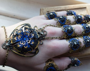 Full Hand Armor - Blue Orchid - Asian Bride - Cosplay Armour - Nail Rings - Claw Rings - Halloween Costume - Goth Jewellery - Alternative