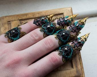 Finger Claws - Black Dahlia Midi Ring Set