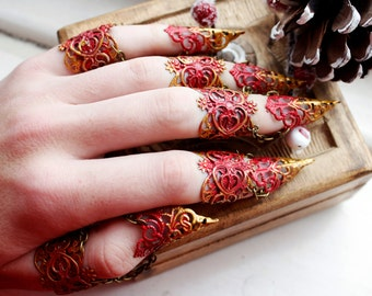 Claw Rings - Christmas Jewellery - Alternative Jewelry - Halloween Costume - Finger Claws - Nail Claw - Steampunk Armor - Cosplay armour