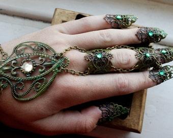 Forest Goddess Hand Pieces - Adjustable - Bronze & Green