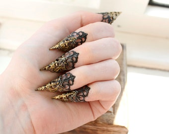 Claw Rings - Adjustable - BDSM - Goth Jewellery - Alternative Fashion - Halloween Costume - Steampunk - 3 Variations - Set of 5 - Witch ring