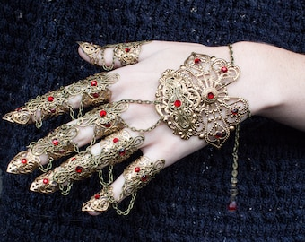 Gold Glove Claws - Emerald Cardinal - Goth Jewellery - Nail Rings - Cosplay Armour - Halloween Costume - LARP Armor - Finger Claws - Witch