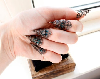 Nail Claw Rings - Bronze Adjustable - Blunt or Sharp - Nail Biting Prevention - BDSM Claws - Halloween Costume - Nail Ring - Gothic Fashion