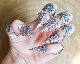 Silver Armour - Full hand set Midi Claw Rings in Silver - Adjustable