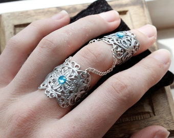 Knuckle Ring - Full Finger Ring - Elven Armour - Goth Jewellery - Armor Ring - Adjustable - Elfish Slave Ring - Vampire Knuckle - Halloween