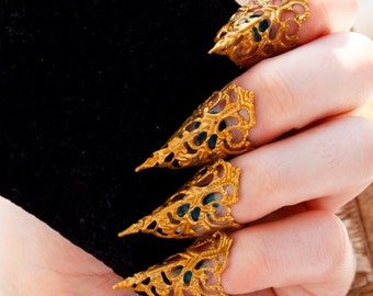 Gold Nail Claws - Set of 5 - Adjustable, Blunt or Sharp