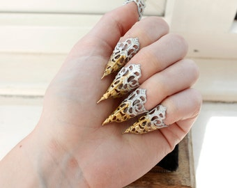 White Claw Rings - Adjustable - Variations on listing - Set of 5 - BDSM Claws - Scratch Play - Nail Jewellery - Nail Art - Halloween Costume