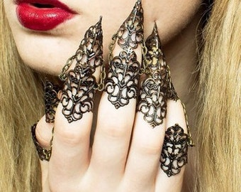Dragon Armour - Full Hand Set x5 - Adjustable Claw Rings -Bronze or Gold