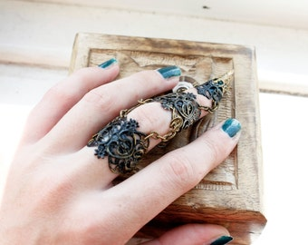Full finger claw ring - adjustable witch claw - hand armour - cosplay armour - halloween costume - BDSM claw  - steampunk jewellery