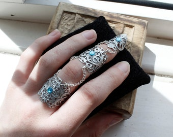 Elven Armour - Full Finger Armour - Silver Adjustable Claw Ring