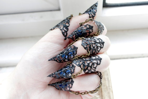 Vampire Black Nail Ring Set Blood Lust Adjustable