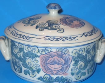 Vintage Casserole /  Spring Floral Serving Bowl with Lid / Easter Table Decor