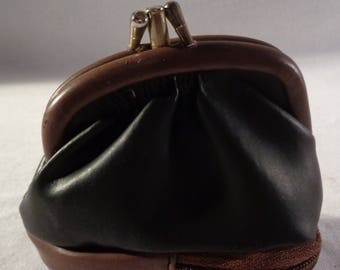 1950s Coin Purse / Ladies Leather Coin Pouch / Black Leather Wallet / Ladies wallet