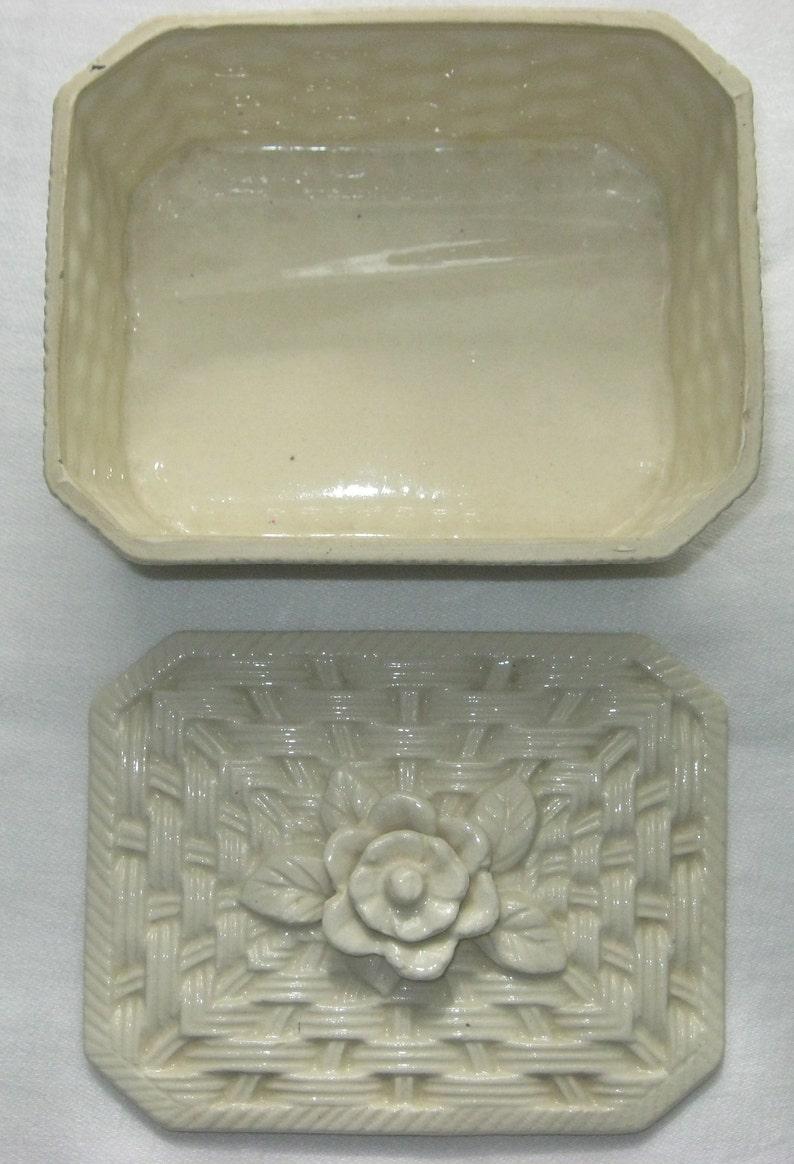 Japan Basket Weave Box Vintage Trinket Box Trinket Box with 3D Flowers