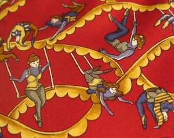 Vintage Tie, Kieselstein Cord Neck Tie, Circus Trapeze Artist on Red Background, 100% Silk, Tie Gift