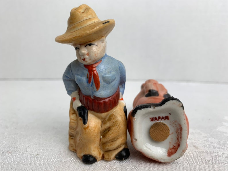 Vintage Cowboy And Horse Salt and Pepper Shakers