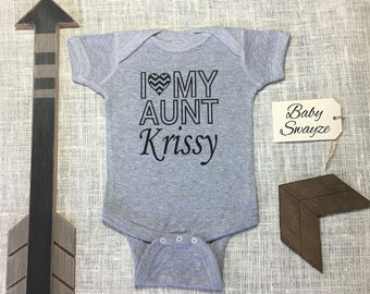 Personalize The Name - I Love My Aunt - Cute Baby One Piece Bodysuit or Toddler / Children's T-shirt - Boy & Girl Color Options Available!