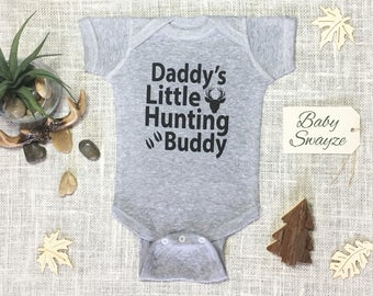 Daddy's Little Hunting Buddy - Deer / Buck Cute Funny Baby One Piece or Toddler / Children's T-shirt - Boy & Girl Color Options Available!