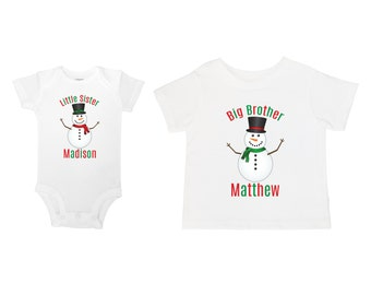 864da3fc6 Personalize The Names - Big Brother Little Sister - Christmas Winter  Snowman Baby One Piece Bodysuit / Toddler T-Shirt Set of Two