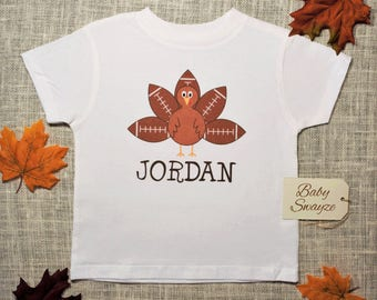 Personalize The Name - Thanksgiving Turkey Football Fall Baby One Piece Bodysuit or Toddler / Children's T-shirt