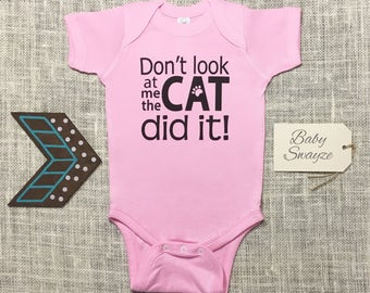 Don't Look At Me, The Cat Did It! - Cute Baby One Piece Bodysuit or Toddler / Children's T-shirt - Boy & Girl Color Options Available!