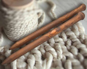 Big Wooden knitting needles 20/300mm Exclusive handmade of natural SIBERIAN Pine WOOD For Chunky Yarn #N9