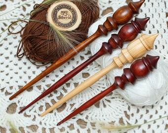 Spindle for Spinning - SET 4 PCs! - Natural Siberian Cedar Wood for Needlework Spinning #BN1