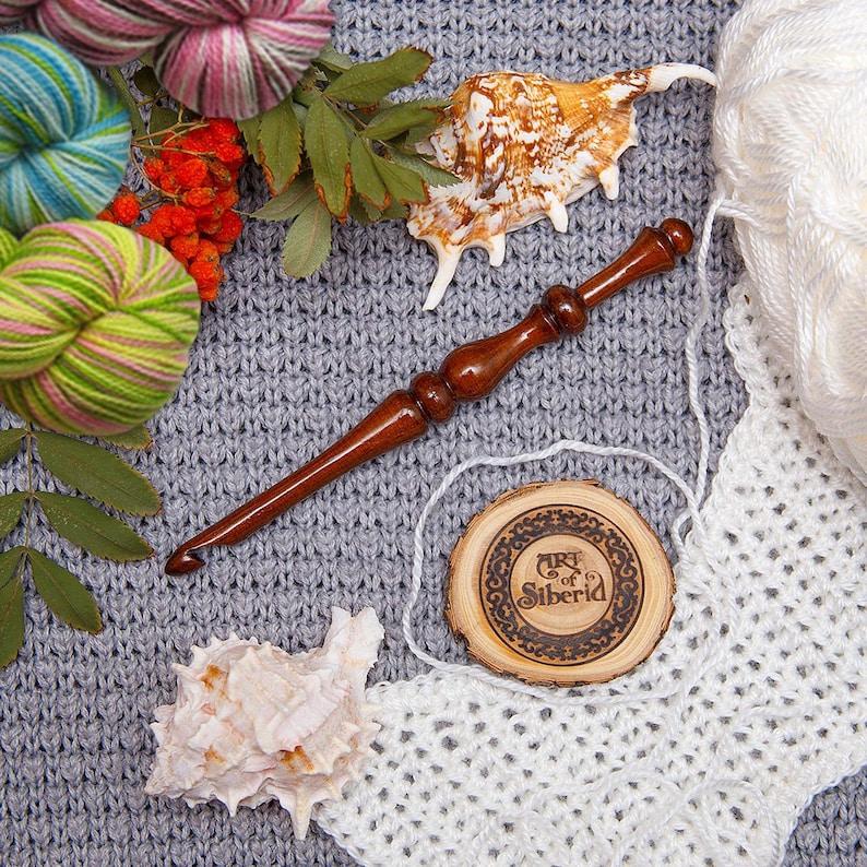 100/% Natural SIBERIAN CEDAR WOOD Handmade #KN5 4-9 mm Crochet Hooks for Knitting Set 6 PCs
