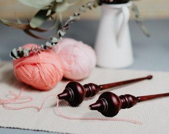 Wooden Drop Spindle for Spinning SET 2PCs Natural SIBERIAN CEDAR Wood For Needlework Russian Spindle Fiber Top Whorl Drop Spindle Kit #BN4