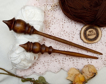 Wooden Spindle for Spinning - SET 2 PCs! - Natural Siberian CEDAR WOOD for Needlework. Russian Spindle #BN2