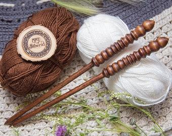 "Wooden knitting needles 8mm (0,3"") Exclusive handmade of natural SIBERIAN BIRCH WOOD #N1"