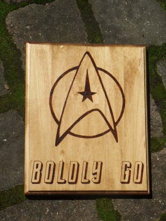 Star Trek Boldly Go Woodburned Plaque Start Trek Command Etsy