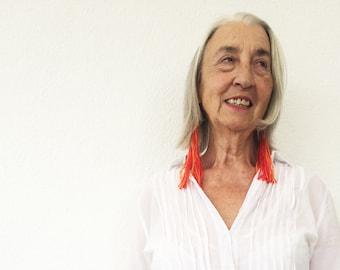 Tassel Earrings, Orange Tassel Earrings, Blue Earrings, Gift For Her, Boho Earrings, Dangle Earrings, Gypsy Earrings, Earrings Handmade