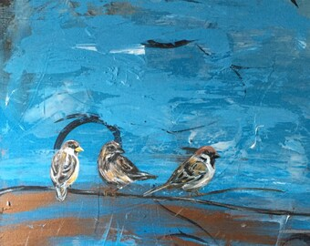 "Three Little Birds- Abstract Painting with Birds, Large - 20"" x 24"""