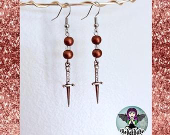Beaded Dagger Earrings