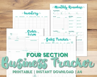 Printable A4 Business Planner Set | 4 Sections | Inventory, Sales Tracker, Order Form & Monthly Roundup | Cute Green | INSTANT DOWNLOAD PDF