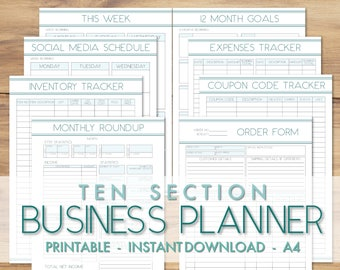 printable a4 business planner 20 sections business etsy