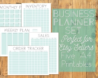 Geometric Store Business Organisation A4 Printables - 5 Sections for Ultimate Planning - Inventory, Sales Tracker, Order Shipping - PDF