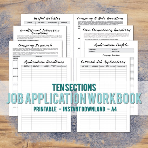 printable a4 job application workbook career planner etsy